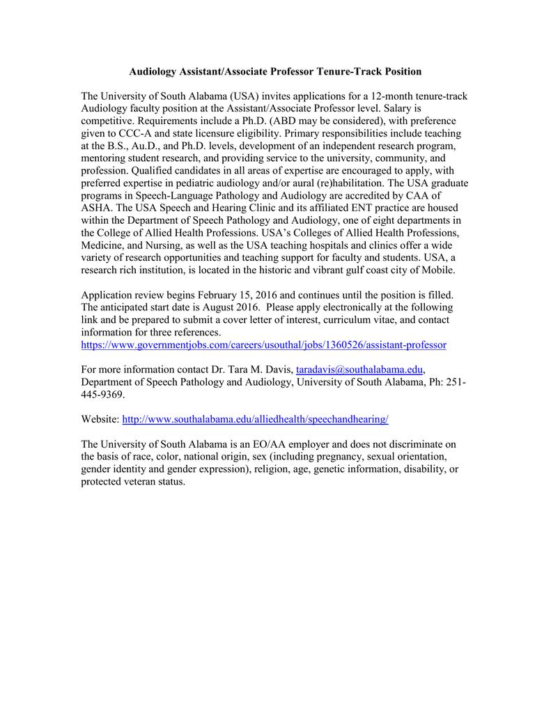 Audiology Assistant/Associate Professor Tenure-Track Position