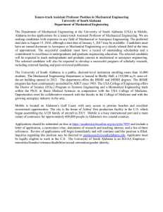Tenure-track Assistant Professor Position in Mechanical Engineering University of South Alabama