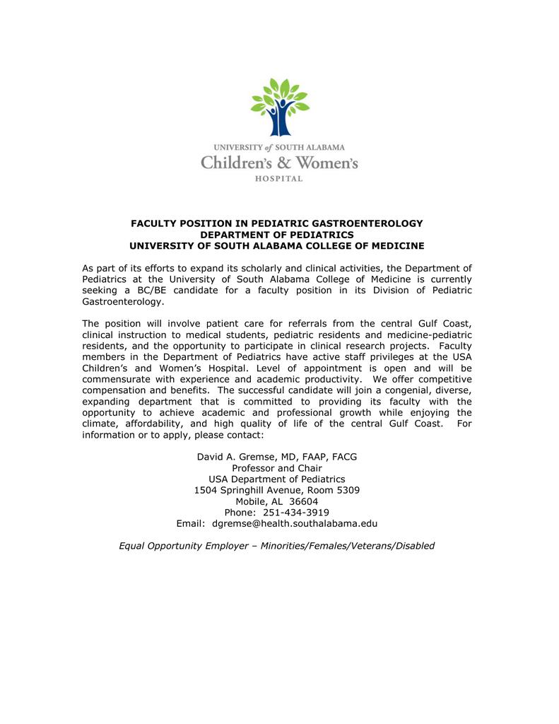 Endoscopy Department: FACULTY POSITION IN PEDIATRIC GASTROENTEROLOGY DEPARTMENT