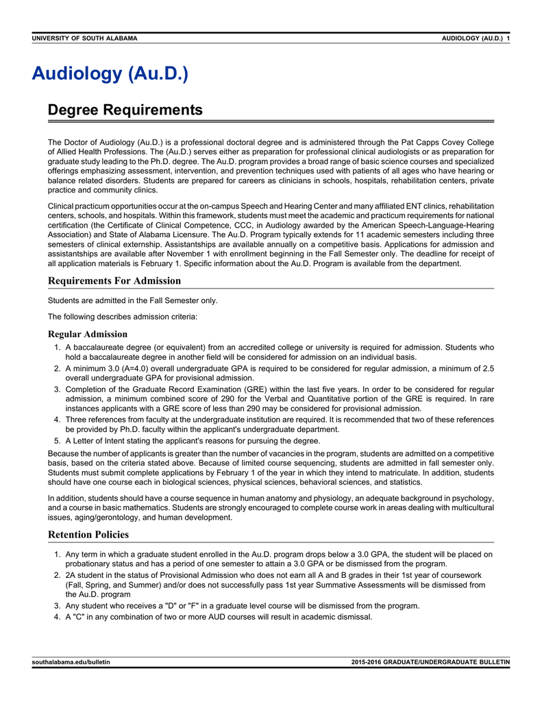 Audiology Aud Degree Requirements