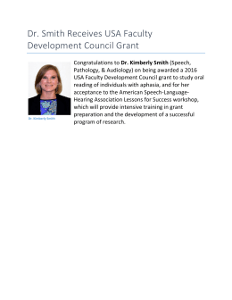 Dr. Smith Receives USA Faculty Development Council Grant