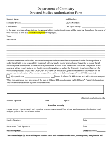Department of Chemistry Directed Studies Authorization Form