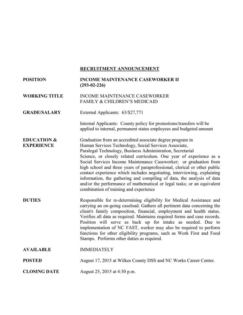 recruitment announcement position income maintenance caseworker ii