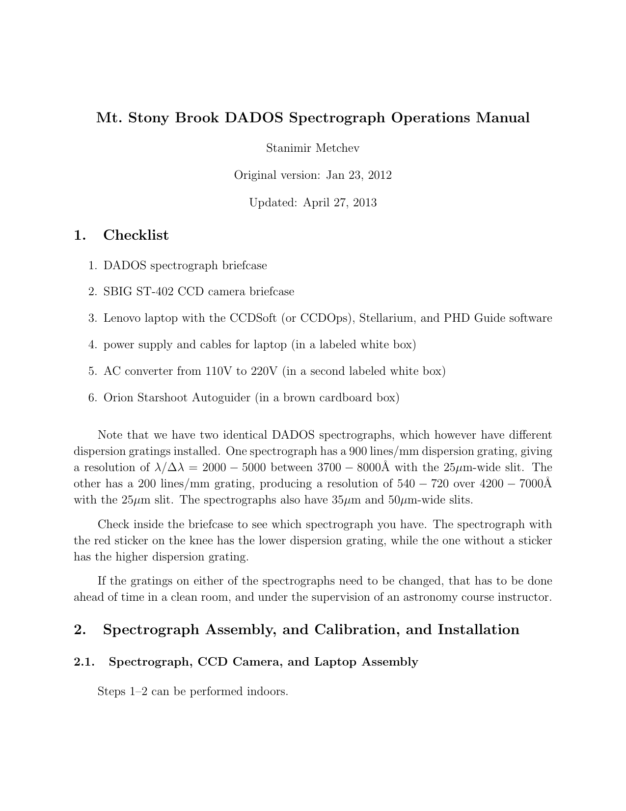 Mt  Stony Brook DADOS Spectrograph Operations Manual 1