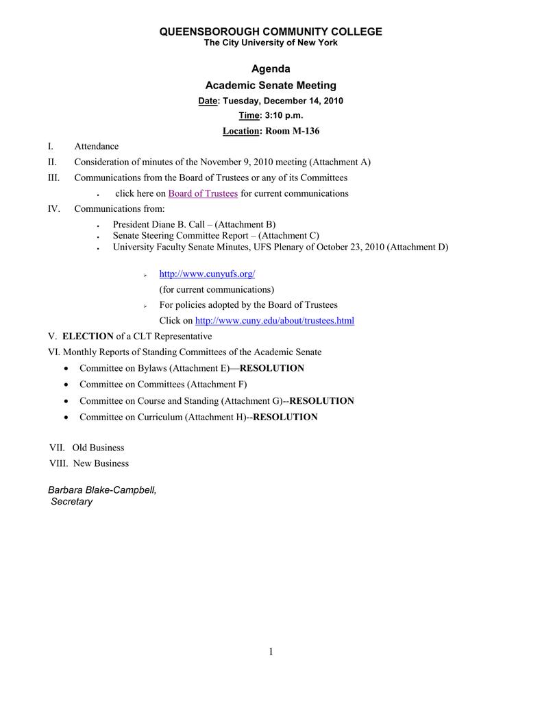 QUEENSBOROUGH COMMUNITY COLLEGE Agenda Academic Senate Meeting