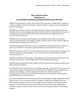 QCC Academic Senate Resolution On