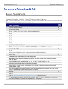 Secondary Education (M.Ed.) Degree Requirements