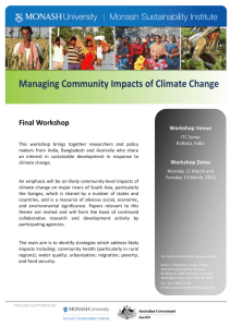 Managing Community Impacts of Climate Change Final Workshop  Workshop Venue