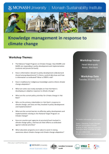 Knowledge management in response to climate change  Workshop Themes: