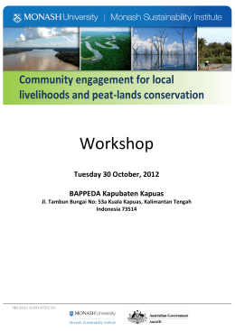 Workshop  Community engagement for local livelihoods and peat-lands conservation
