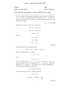 Quiz 2 - Math 105, Section 204 Name: SID: Date: Jan 25, 2012