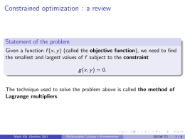 Constrained optimization : a review Statement of the problem