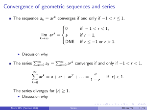 Convergence of geometric sequences and series