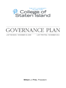 GOVERNANCE PLAN illiam J. Fritz W LAST REVISION:  NOVEMBER 23, 2009