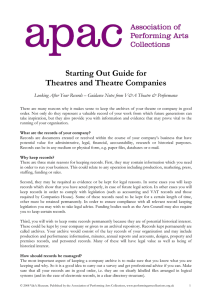 Starting Out Guide for Theatres and Theatre Companies