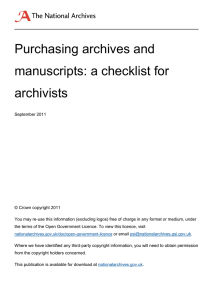 Purchasing archives and manuscripts: a checklist for