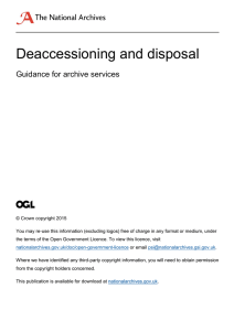 Deaccessioning and disposal  Guidance for archive services