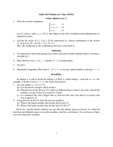 Math 342 Problem set 1 (due 13/9/11) Linear algebra over F 1.