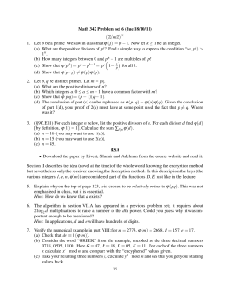 Math 342 Problem set 6 (due 18/10/11) (Z/mZ) 1.