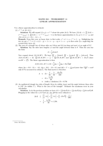 MATH 253  WORKSHEET 11 LINEAR APPROXIMATION (1) e