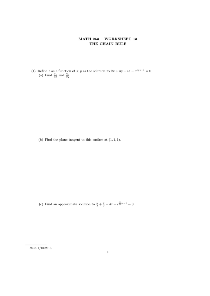 Free Worksheet Chain Rule Worksheet math 253 worksheet 13 the chain rule