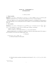 MATH 253  WORKSHEET 16 OPTIMIZATION 1. critical points 1.1. Single-variable.