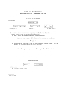 MATH 100 – WORKSHEET 8 LOGARITHMS AND THEIR DERIVATIVES Logarithm rules.
