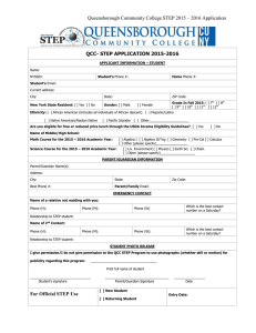 Queensborough Community College STEP 2015 – 2016 Application