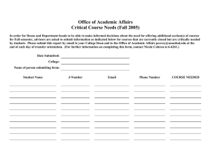 Office of Academic Affairs Critical Course Needs (Fall 2005)