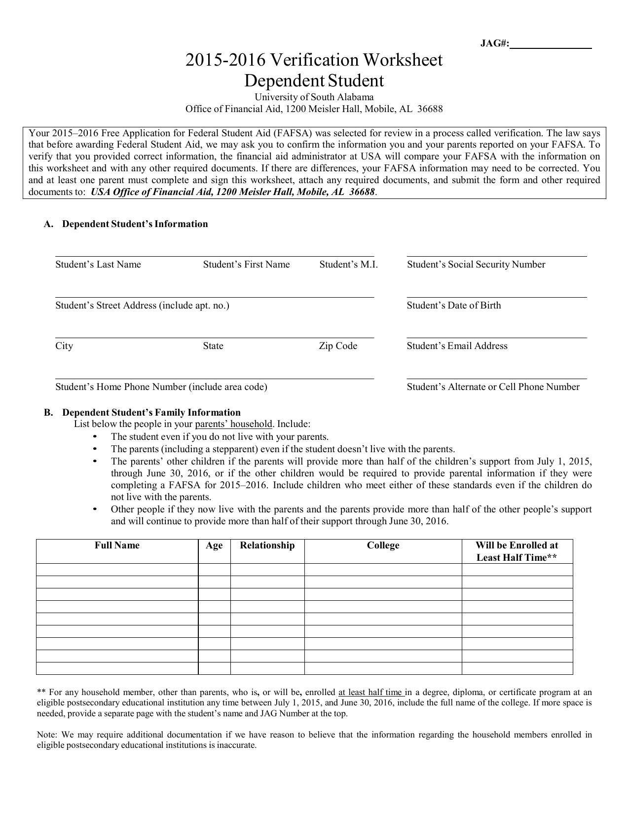 worksheet Verification Worksheet Dependent Student 2015 2016 verification worksheet dependent student