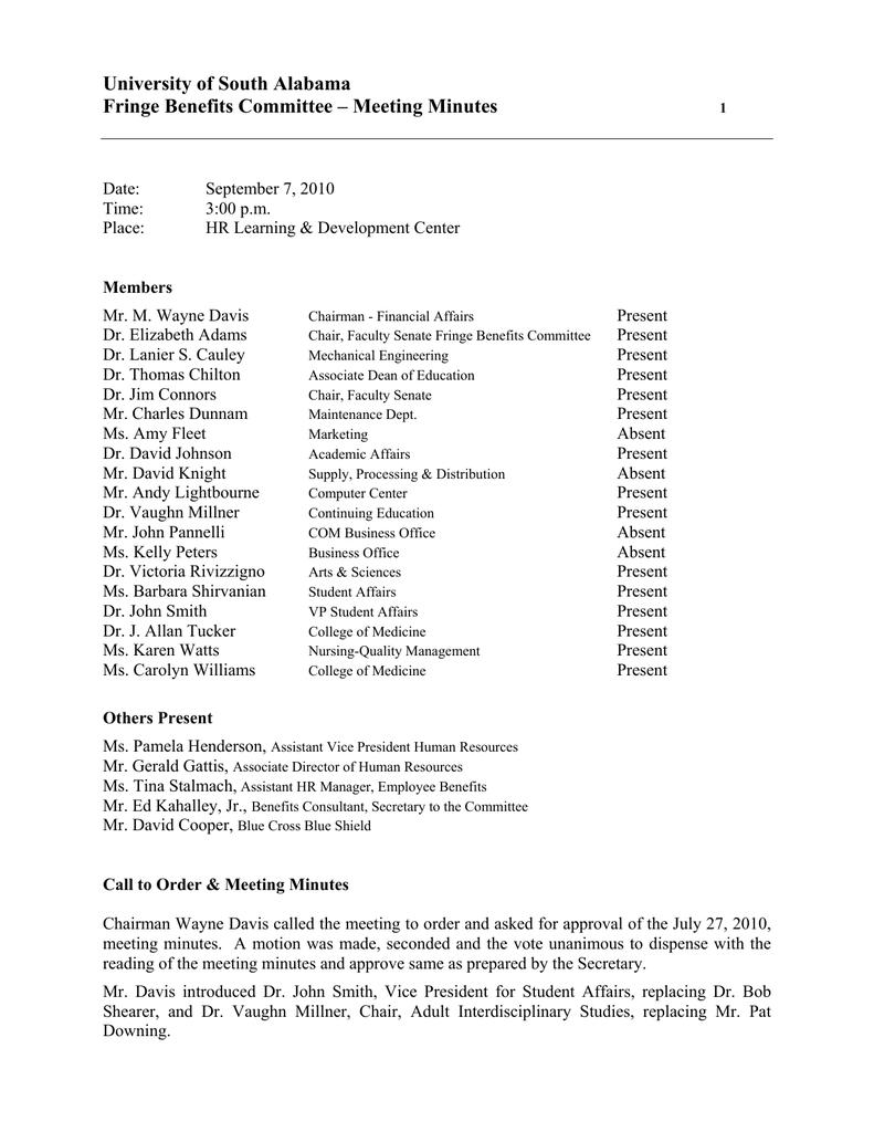 University of South Alabama Fringe Benefits Committee