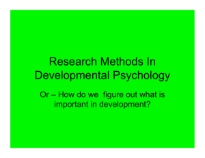 Research Methods In Developmental Psychology important in development?