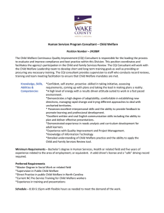 Human Services Program Consultant – Child Welfare