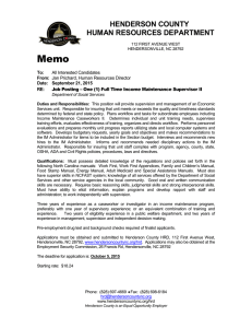 Memo HENDERSON COUNTY HUMAN RESOURCES DEPARTMENT