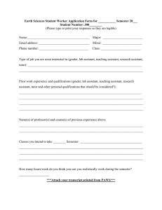Earth Sciences Student Worker Application Form for ___________ Semester 20___
