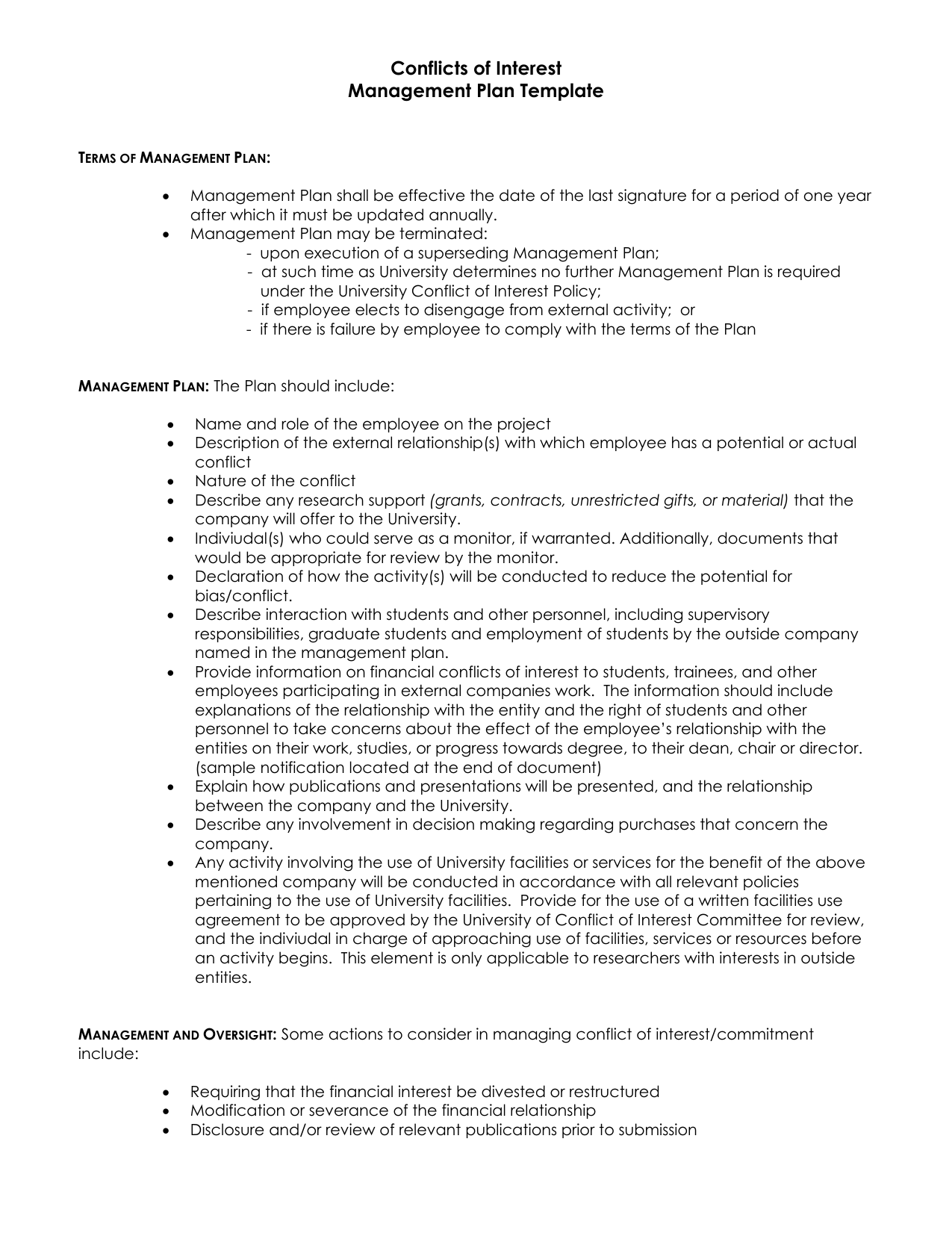 Conflicts of interest management plan template pronofoot35fo Images