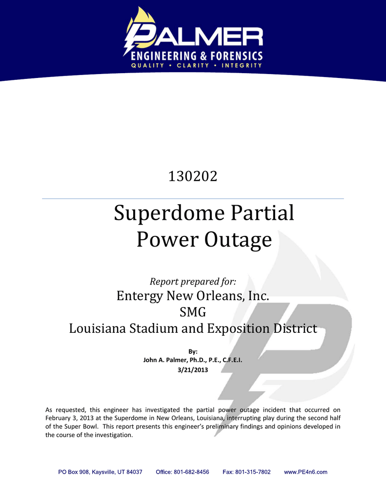 Superdome Partial Power Outage 130202 Entergy New Orleans, Inc