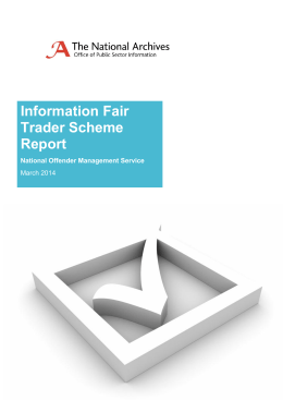 Information Fair Trader Scheme Report National Offender Management Service