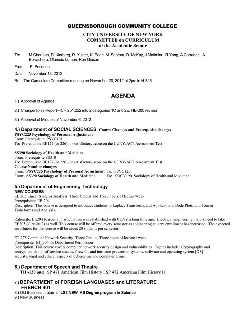 Queensborough Community College City University Of New York Committee On Curriculum