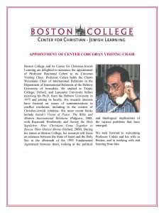 APPOINTMENT OF CENTER CORCORAN VISITING CHAIR