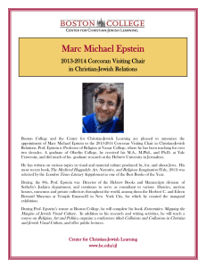 Marc Michael Epstein  2013-2014 Corcoran Visiting Chair in Christian-Jewish Relations
