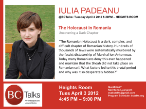 IULIA PADEANU The Holocaust in Romania
