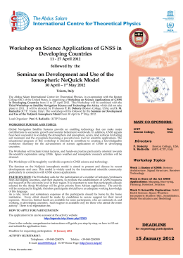 Workshop  on Science Applications of GNSS in Developing  Countries