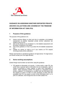 GUIDANCE ON ASSESSING WHETHER DEPOSITED PRIVATE OF INFORMATION ACT 2000 (FOI)