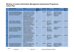 Ministry of Justice Information Management Assessment Programme Action Plan