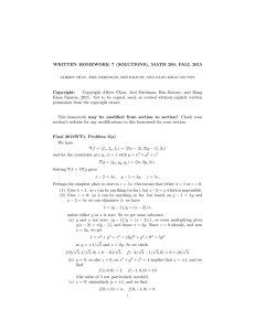 WRITTEN HOMEWORK 7 (SOLUTIONS), MATH 200, FALL 2015 Copyright: