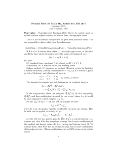 Formula Sheet for Math 340, Section 101, Fall 2015 December 2015 Copyright: