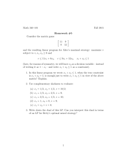 Math 340–101 Fall 2015 Homework #5 Consider the matrix game