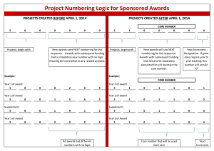 Project Numbering Logic for Sponsored Awards PROJECTS CREATED AFTER APRIL 1, 2014 PROJECTS CREATED BEFORE APRIL 1, 2014