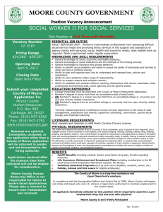 MOORE COUNTY GOVERNMENT SOCIAL WORKER II FOR SOCIAL SERVICES Position Vacancy Announcement